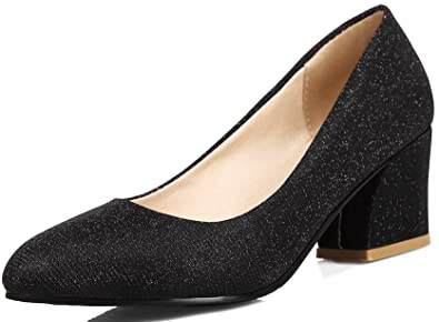 f144e3f9031 KingRover Women s Glitter Sexy Pointed Toe Block Heel Slip On Formal Dress  Pumps Black