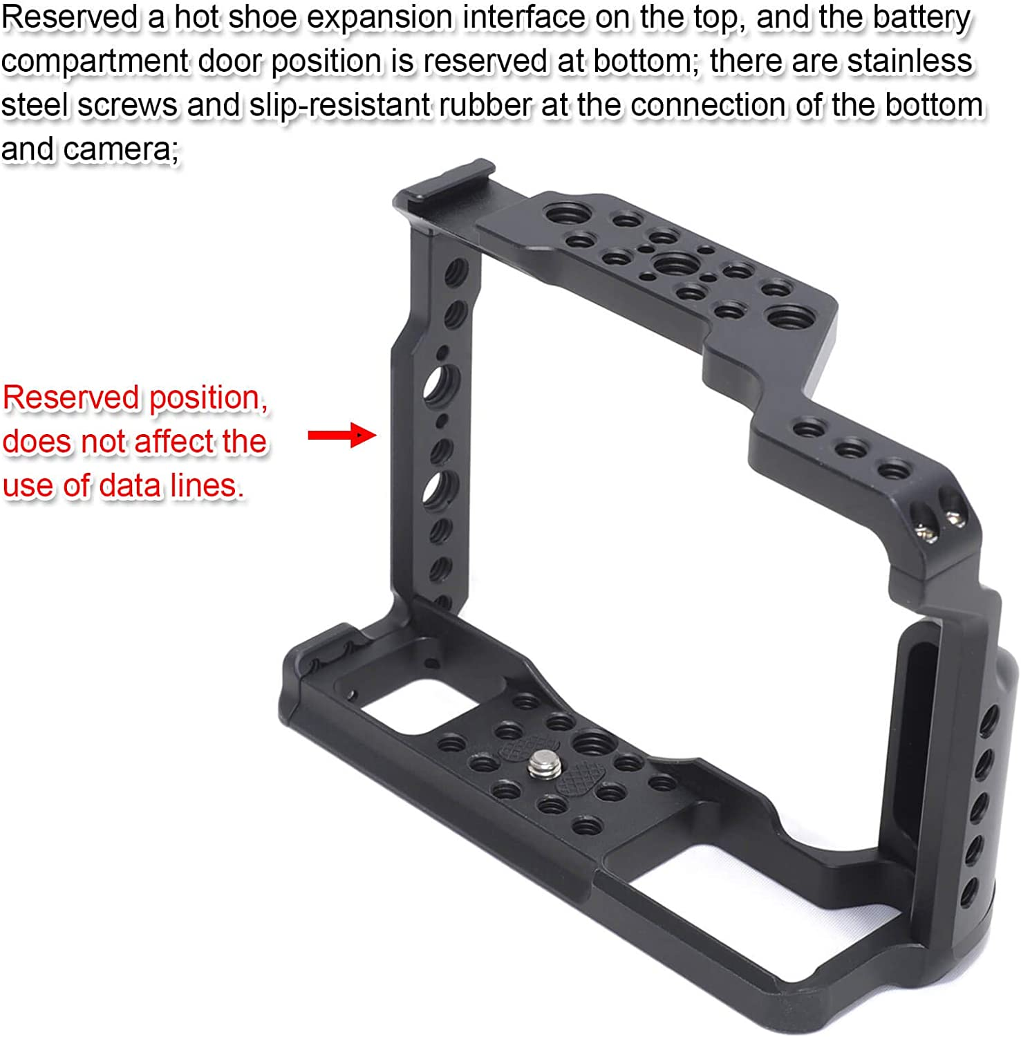 iShoot Camera Cage Stabilizer CNC Machined Aluminum Alloy Cinema Video Mount for Fujifilm X-T2 and X-T3 Mirrorless Digital Camera with Hot Shoe Mount and ARCA-Swiss Type Quick Release Plate Base