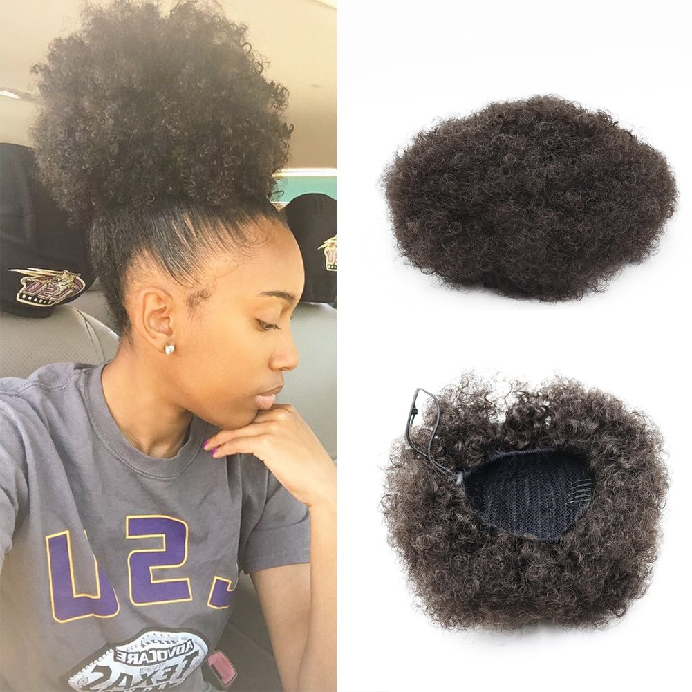 VGTE Beauty Synthetic Curly Hair Ponytail African American Short Afro Kinky Curly Wrap Synthetic Drawstring Puff Ponytail Hair Extensions Wig with Clips (#2) ¡­ by VGTE Beauty