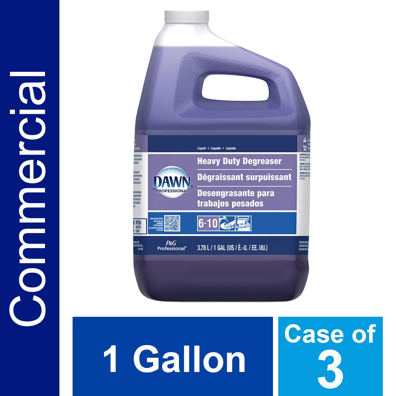 Heavy Duty Degreaser by Dawn Professional, Bulk Liquid Degreaser Refill for Commercial Restaurant Kitchens and Bathrooms, 1 gal. (Case of 3) (Renewed) by P&G Professional
