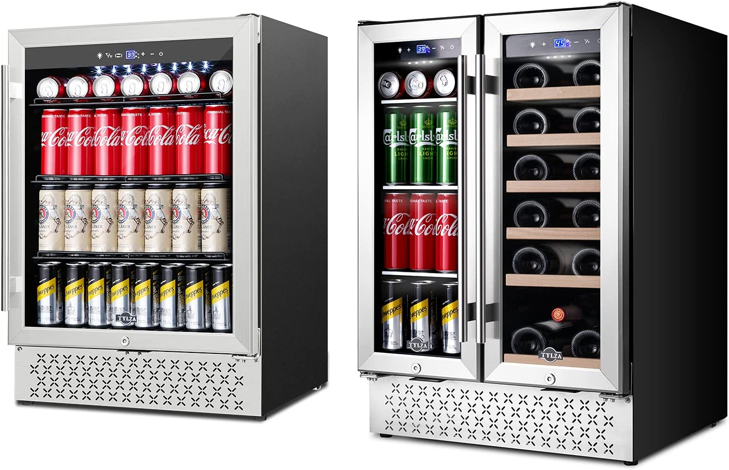 24'' Wine and Beverage Cooler Refrigerator Built-in or Freestanding with Glass Door & 190 Can 24'' Beverage Refrigerator Built-in/Freestanding Refrigerator with Stainless Steel and Advanced Cooling Co