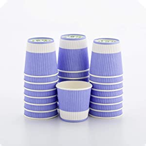 4 Ounce Ripple Insulated Coffee Cups, 500 Double Wall Corrugated Coffee Cups - Leakproof, Non-Slip, Light Purple Paper Ribbed Coffee Cups, Recyclable, Matching Lids Sold Separately - Restaurantware