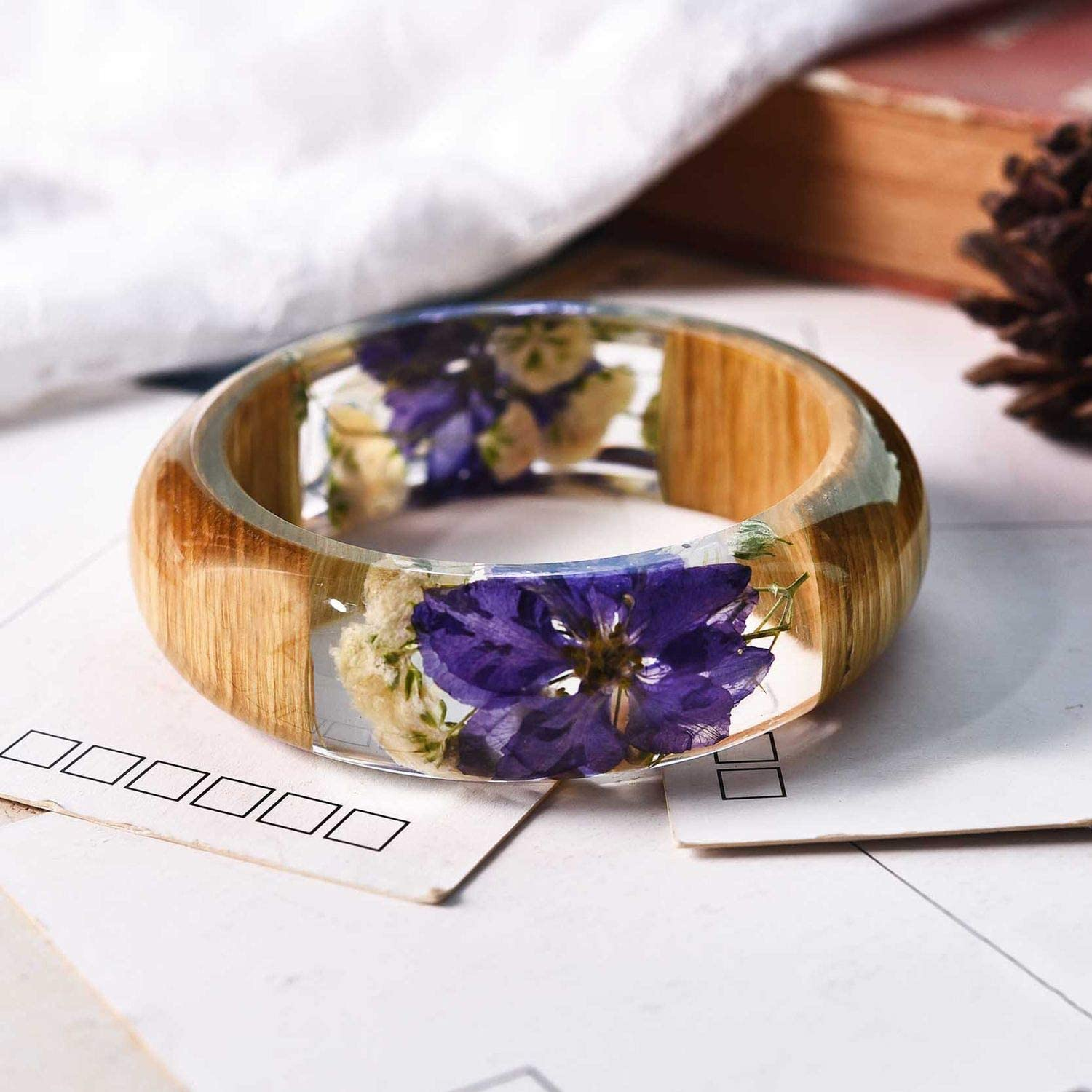 xiaoxiaoland Resin Bangle Bracelet with Real Wood Purple Dried Flower Bohemia Style Bangle D