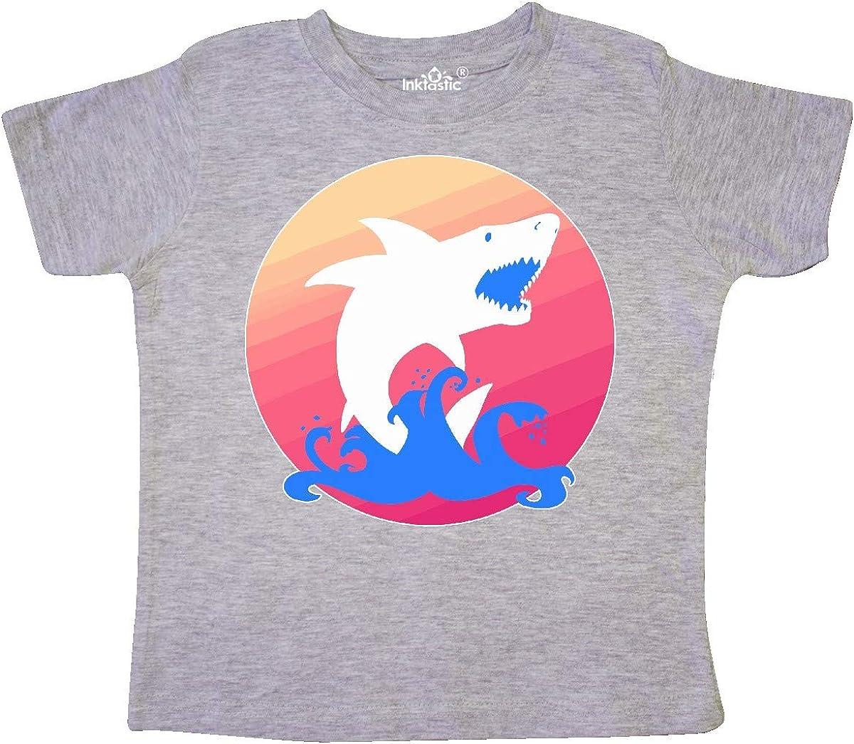 inktastic Shark with Pink Sunset Toddler T-Shirt