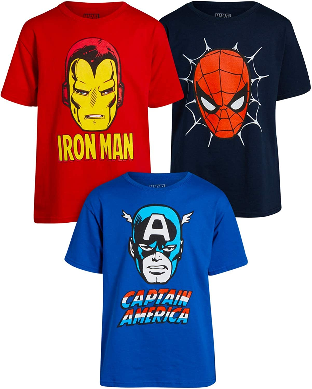 Marvel Boys 3 Pack Avengers T-Shirt - Iron Man, Captain America, Spider-Man Big Face Superheroes