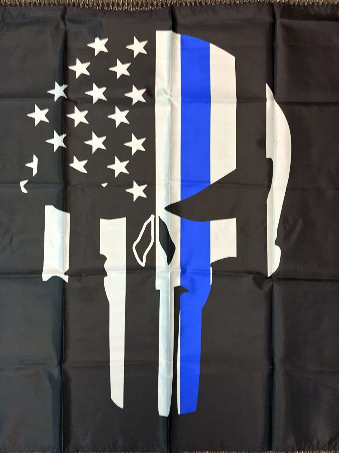 afcb736f892 Amazon.com   Ruffin 3x5 Blue Line Police Lives Matter Memorial American  Punisher Skull Flag USA New   Garden   Outdoor