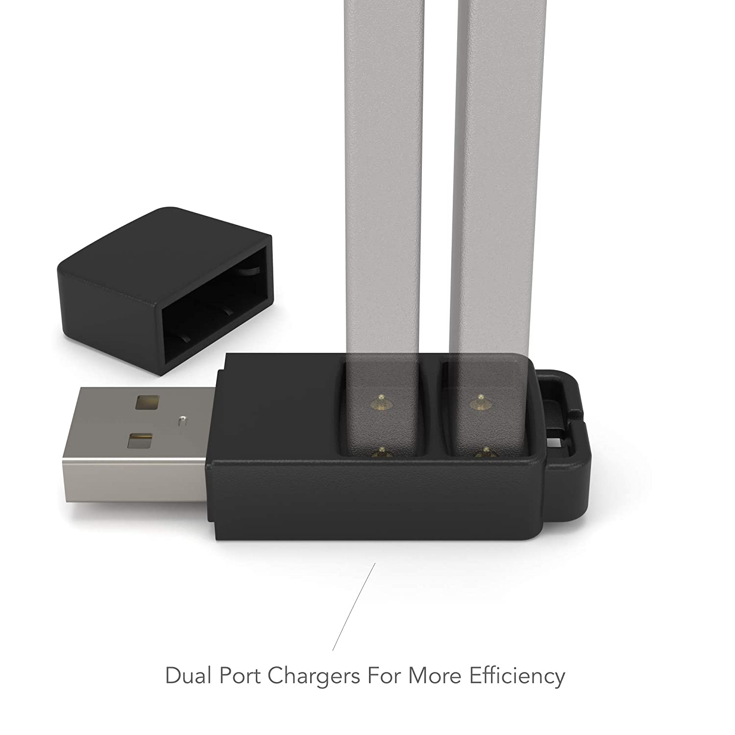 Jmateee Dual USB JUULE Charger Rapid Charging Technology Black Double Charging Ports - Plugs Into Any Laptop//Computer//Socket - RCT
