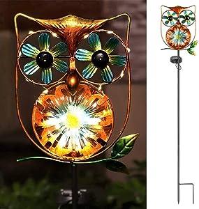 LeiDrail Solar Garden Light Outdoor Decorative Stake Owl Wind Spinner Metal Pathway Lights Solar Powered Yard Decor Waterproof Warm White Landscape Lighting for Lawn Patio Walkway