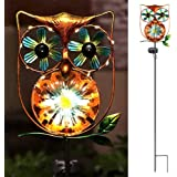 LeiDrail Solar Garden Light Outdoor Decorative Stake Owl Wind Spinner Metal Pathway Lights Solar Powered Yard Decor Waterproo