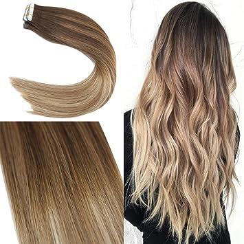 2b7c4771709263 YoungSee 20 Tressen 40 cm Tape Extensions Echthaar Balayage Braun Gestrahnt  zu Blond Tape Echthaar Haarverlangerung
