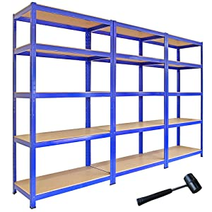 3 x 90cm Blue Shed Utility Greenhouse Storage Racks Garage Shelving Bays 4200kg