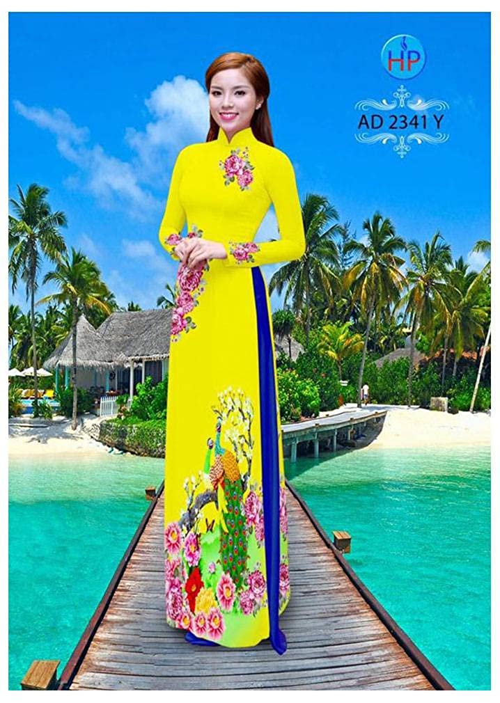Silk 3D All Size Ao Dai ADVN00814 Traditional Vietnamese Long Dress Collections with Pants