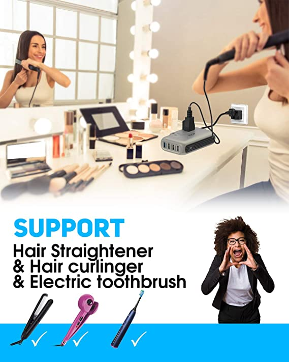 International Travel Adapter for Hair Clippers//Straightener// Curling Iron Power Converter Key Power Voltage Converter Step Down 220V to 110V CPAP Laptop-Use USA Appliance Overseas in 260+ Countries