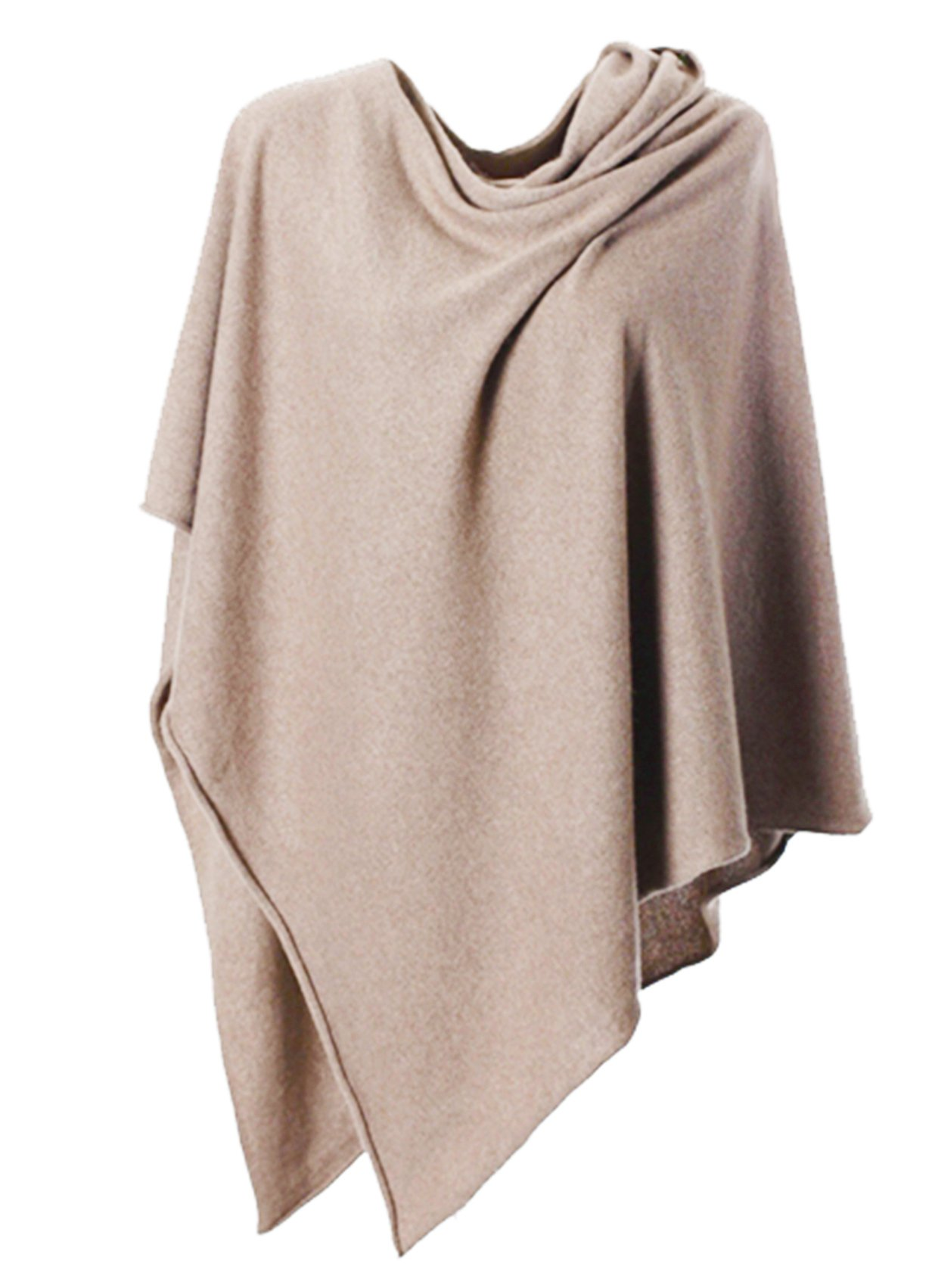 Anna Kristine Asymmetrical 100% Cashmere Draped Poncho Topper - Simply Beige