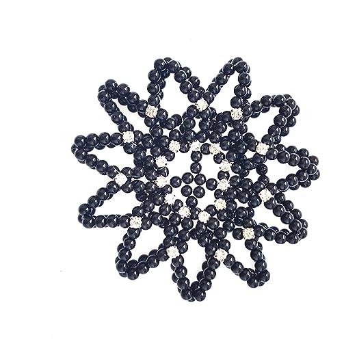 Elastic Handmade Crochet Pearl Hair Snood Net Ballet Hair Bun Cover