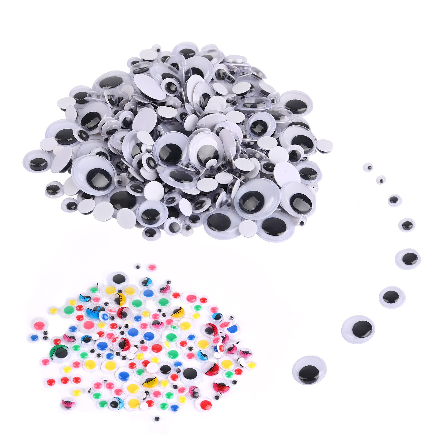 TOAOB 200pcs 35mm Wiggle Googly Eyes with Self-Adhesive Round Black for Crafts Decorations