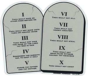 "Refrigerator Magnet - 10 Commandments On Stone Tablets - Religious Magnet - 5.5"" x 4.5"""