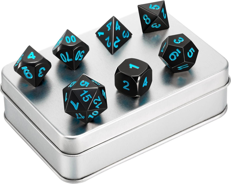 7 Piezas de Dados de Metal Juego de Dados Poliédricos D&D de Metal Sólido de Níquel Negro con Números Azules y Caja de Almacenaje para Juego de Papel Dungeons y Dragons, Enseñanza de Matemáticas