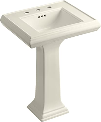 KOHLER K-2238-8-47 Memoirs Pedestal Bathroom Sink with 8 Centers and Classic Design, Almond