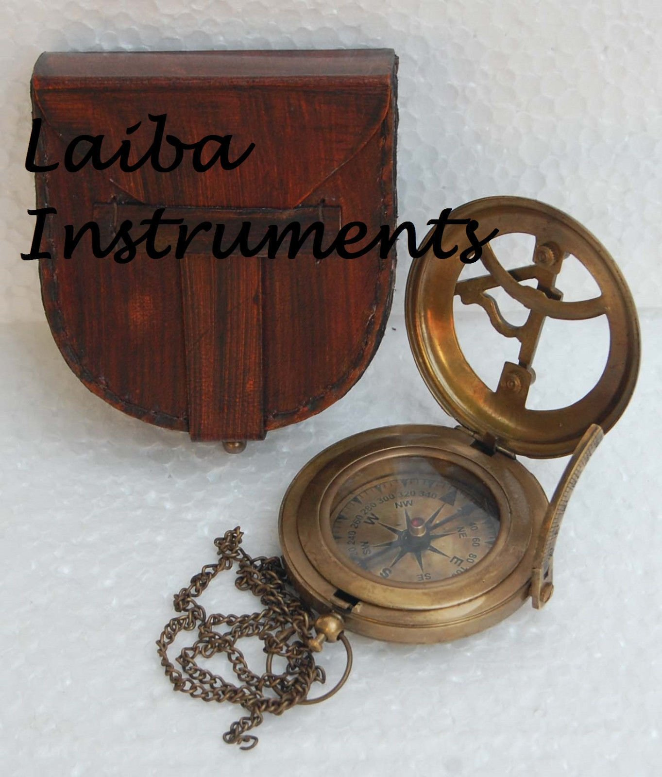 Humaira Nautical OLD ANTIQUE BRASS SUNDIAL COMPASS VINTAGE PUSH BUTTON SUNDIAL COMPASS GIFT A