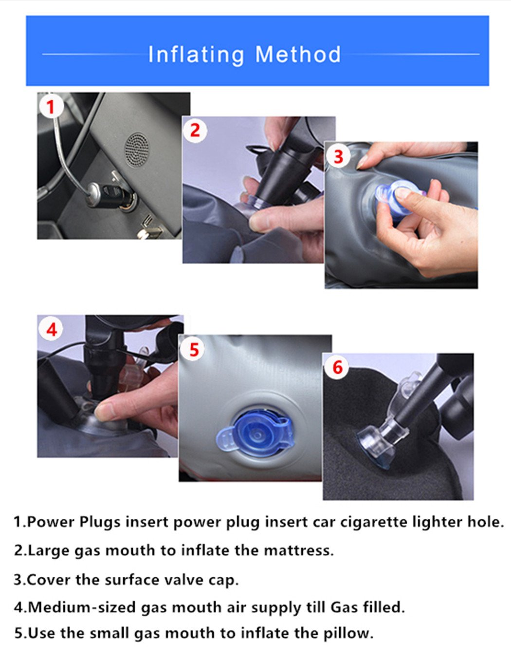 Car Air Bed Inflatable Camping Travel Mattress Vehicle Mount SUV Seat Compatible Tesla Model X with 6 Seater Tesla Home