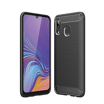 Hianjoo Compatible para Funda Samsung Galaxy A40, Carcasa Galaxy A40 Carbon Fibre Texture Suave y Flexible TPU Silicona Cases Parachoques Protectora ...