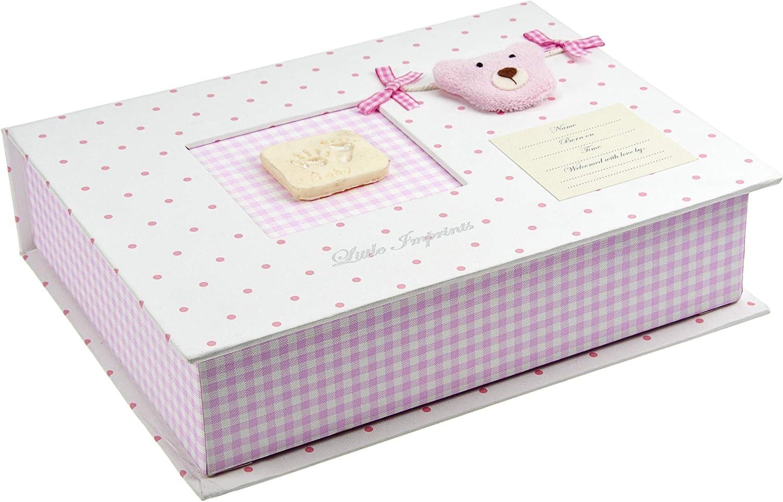 Mousehouse Gifts Caja de Recuerdos para bebés Color Rosa con Set de Modelado e impresión en Arcilla y diseño de Oso de Peluche: Amazon.es: Juguetes y juegos