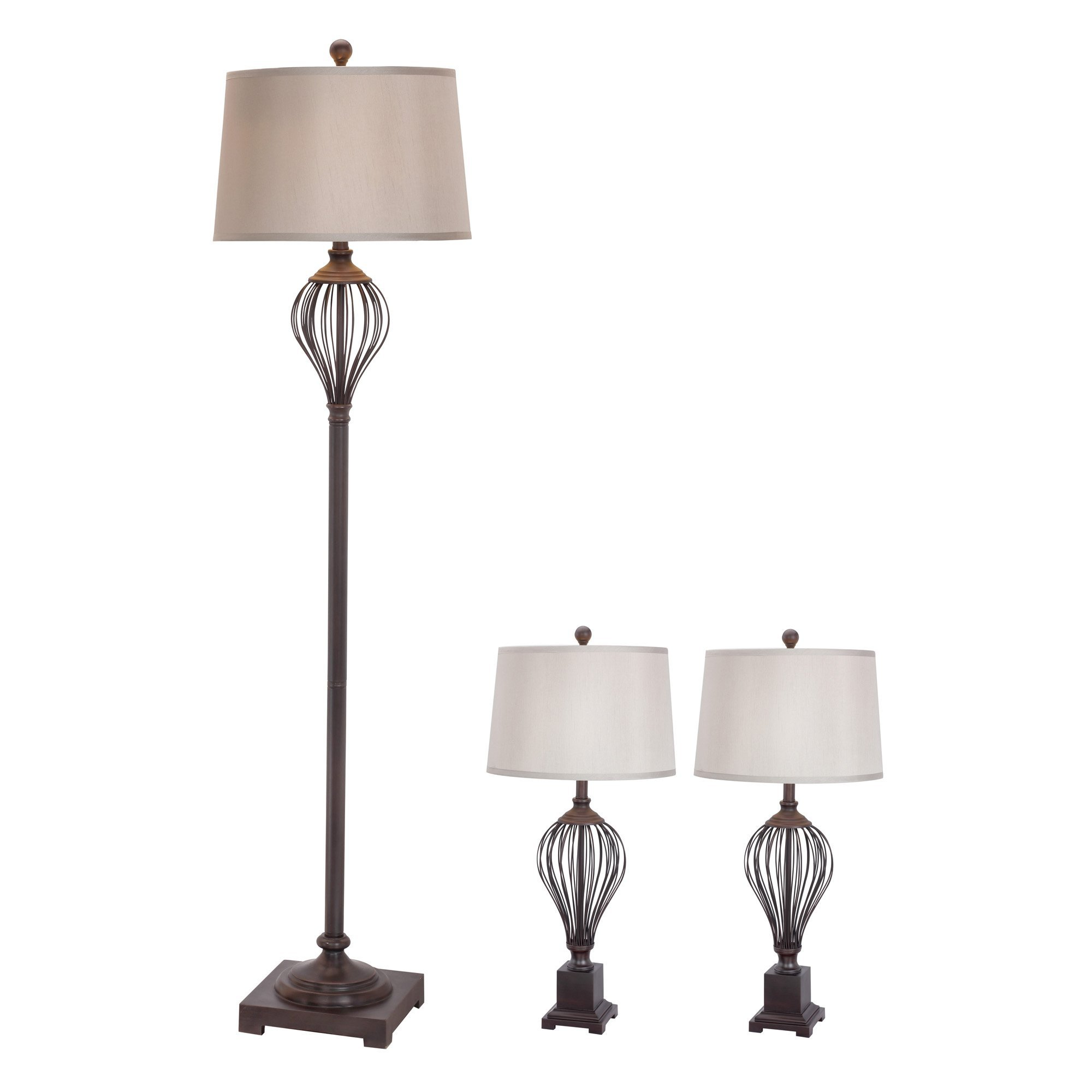 Fangio Lighting W-3857ORB Metal Wire Lamp Set, Oil Rubbed Bronze
