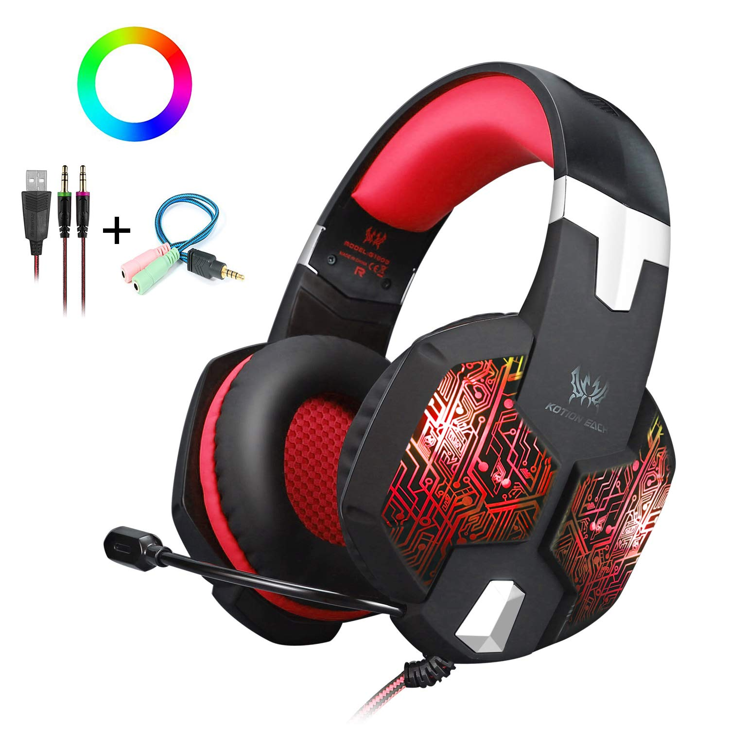 Gaming Headset with Mic and USB RGB LED Light for PS4 Xbox One PC Nintendo Switch,Lightweight Stereo Sound Over Ear Headphones,Soft Memory Earmuffs & Noise Cancelling & Volume Control (Red)