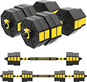 GMWD Adjustable Weight Dumbbells Barbell Lifting Set 3 in 1 with Connector, Adjustable Dumbbell Barbell Sets Total 44/66/88lbs for Strength Training,Home,Gym,Office Fitness Exercises for Men Woman
