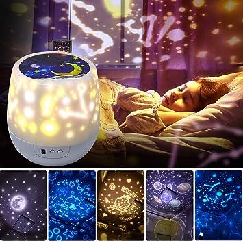 YJDQXKD Iluminación Proyector Estrellas,Girar 3 Colores Regulable ...