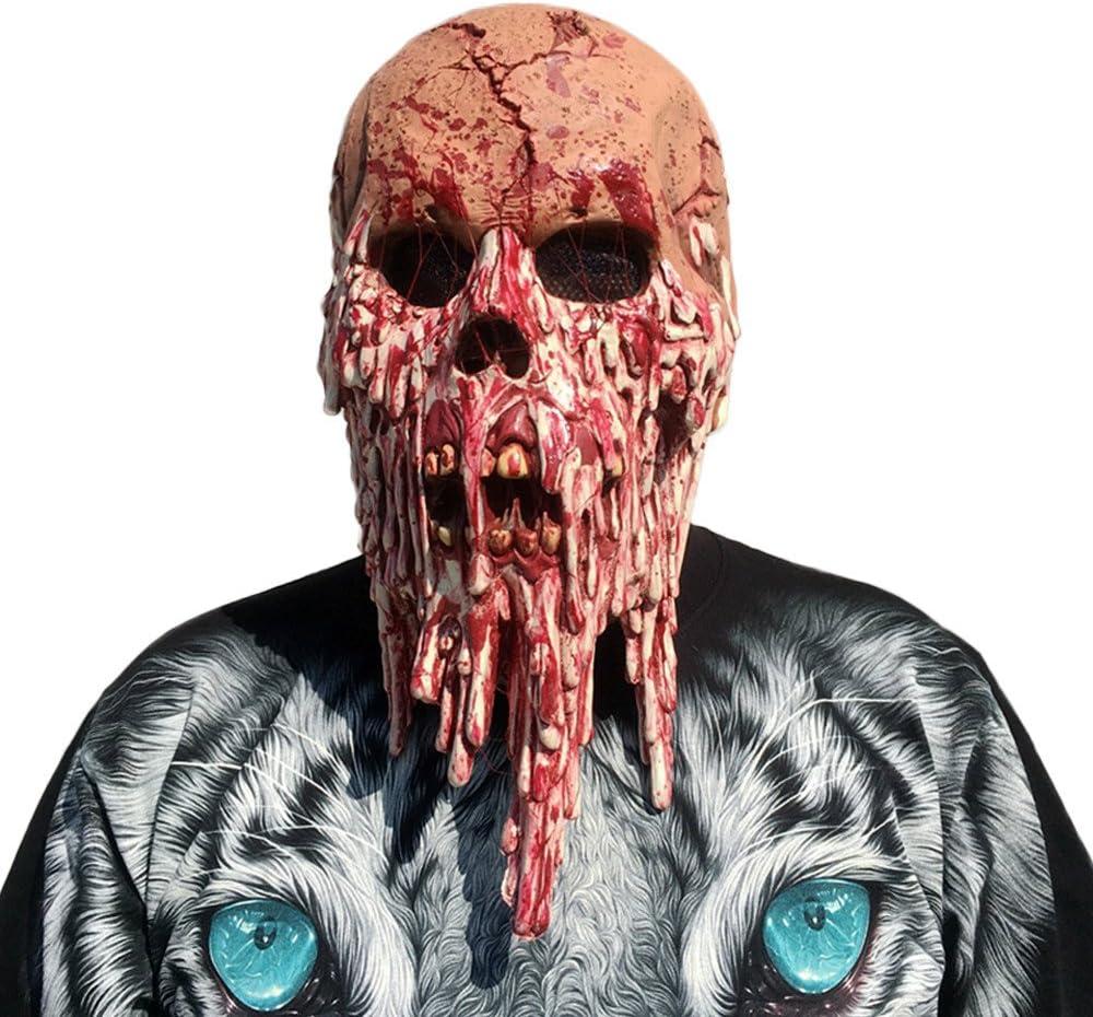 Máscara De Zombie Sangrienta Que Funde La Cara Disfraz De Látex ...