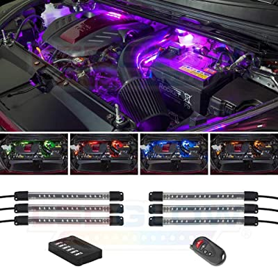 "LEDGlow 6pc Million Color LED Engine Bay Under Hood Lighting Kit - 15 Solid Colors - 9 Patterns - 6"" Multi-Color Flexible Tubes - Includes Control Box & Wireless Remote: Automotive"