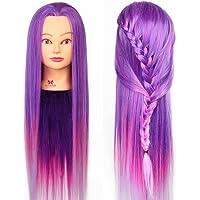 Neverland 26 Pouce Têtes à Coiffer avec de Long Cheveux Synthetiques Violet avec Support #7
