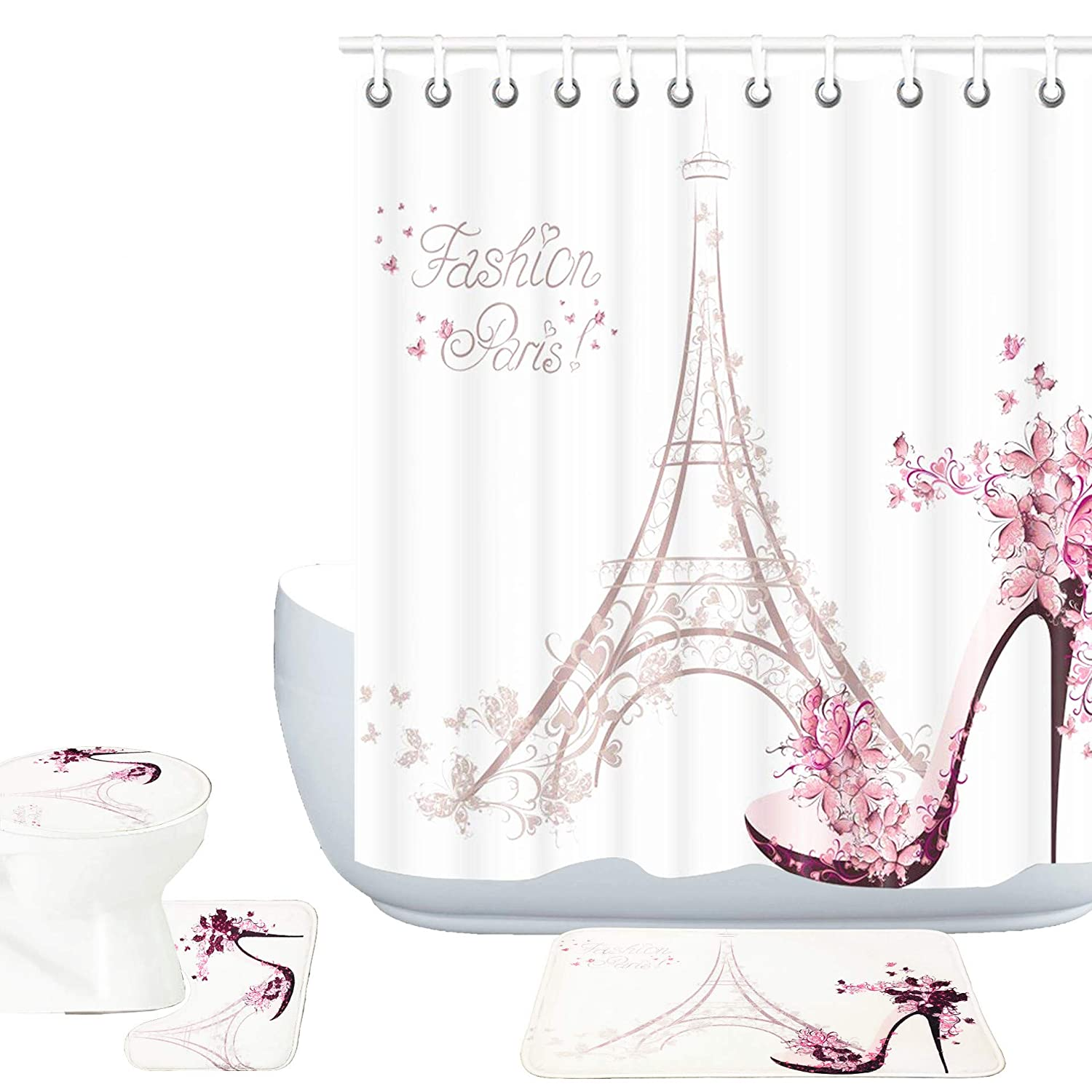 Amagical Paris Eiffel Tower Decor 16 Piece Bathroom Mat Rug Set Shower Curtainn Set High Heeled Shoes and Pink Flower in Paris Pattern Bath Mat + Contour Mat + Toilet Cover + Shower Curtain + 12 Hooks