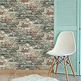 "RoomMates Brick Alley Peel and Stick Wallpaper, Teal, 20.5"" x 16.5 Feet - RMK11080WP"