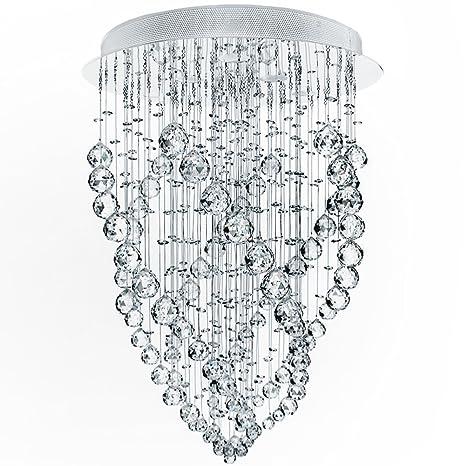 CCLIFE Lámpara Araña de Techo de Cristal,Instalación Fija ...