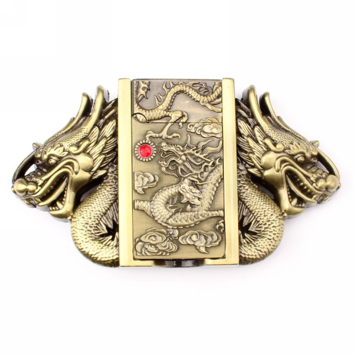 Vintage Dragon Lighter Belt Buckle Cowboy Native American Motorcyclist (LTR-05) IW-02-G