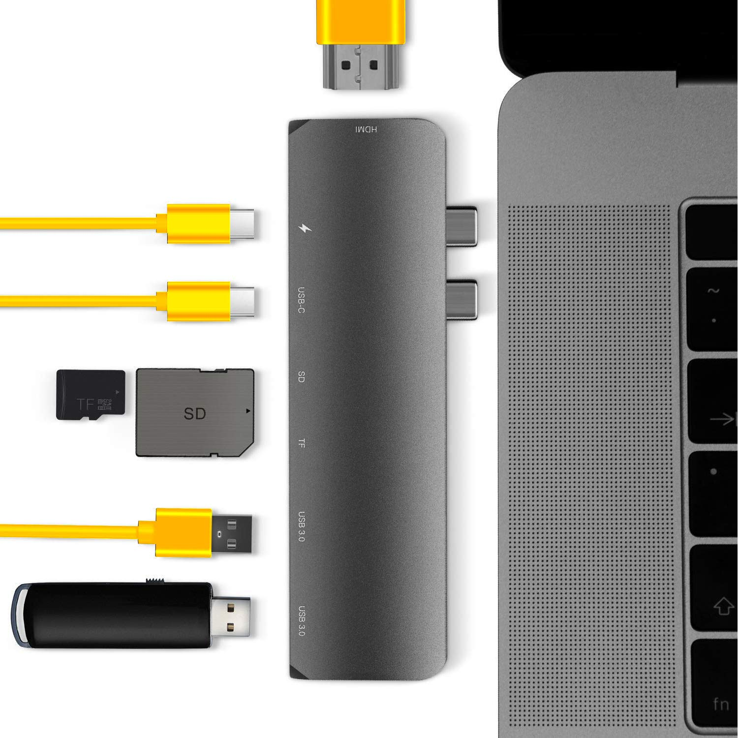 Type C HUB for Mac Best Dual Type-C Docking Station 50 GBS for MacBook Pro 2016//2017//2018 13 15-7 in 1: USB-C 100W Power Delivery microSD//SD Card Read Thunderbolt 3-4K HDMI USB Type C Adapter