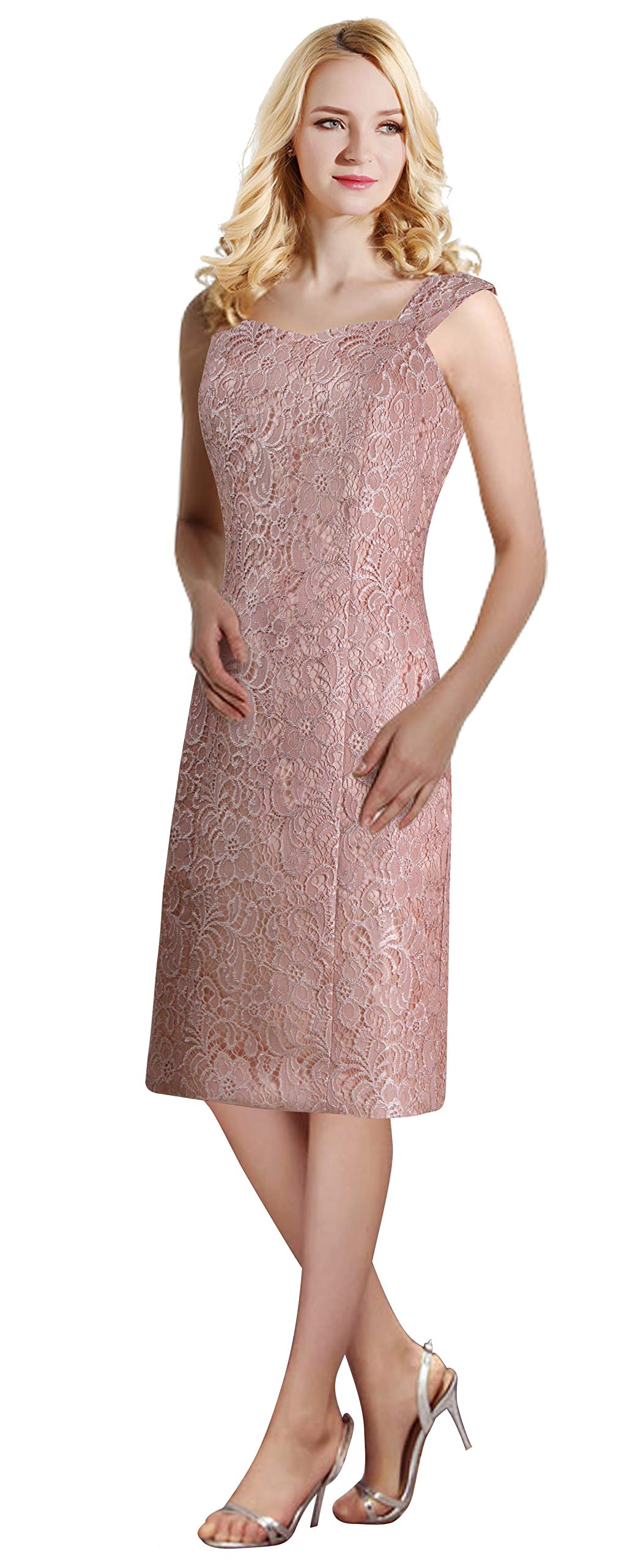 16ab4a13397a5 ThaliaDress Womens Lace Straps Mother of Bride Dress with Chiffon Shawl  T107LF Sliver US20W