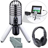 Samson Meteor Mic Studio USB Condenser Microphone and Headphones with Fibertique Cleaning cloth