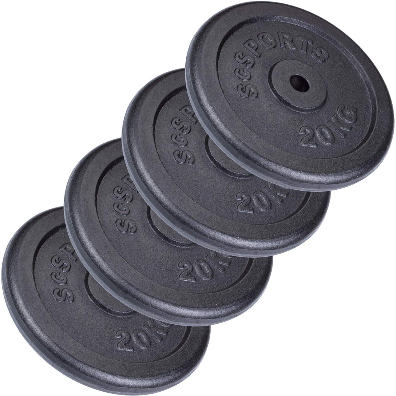 ScSPORTS 80 kg Hantelscheiben-Set 4 x 20 kg Gusseisen Gewichte mit 30/31 mm Bohrung, durch Intertek geprüft + Besteanden¹