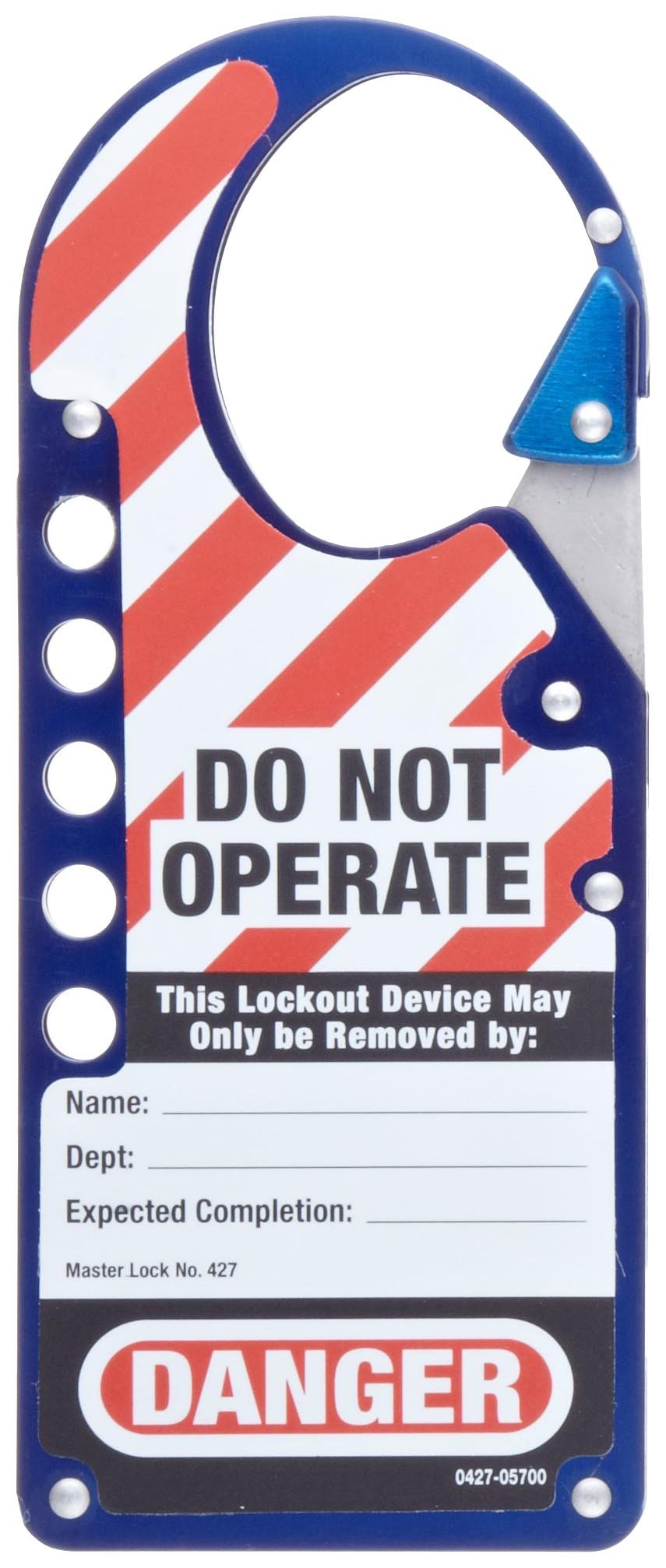 Master Lock Snap-On Lockout Hasp with Tag, Blue
