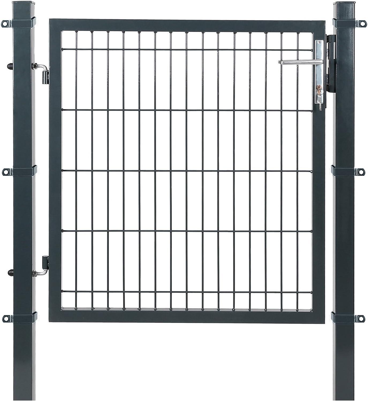 SONGMICS Puerta de malla de jardín Puerta de verja Acero galvanizado Sólido y estable Cerradura y llaves Puerta de jardín de 106 x 150 cm Malla de 50 x 200 mm Gris GGD250G
