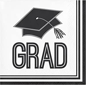 Creative Converting 360 Count School Spirit Paper Beverage Napkins for Graduation Party, White