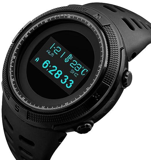 Reloj de pulsera deportivo digital para hombre con pantalla LED de cara simple y electrónica militar
