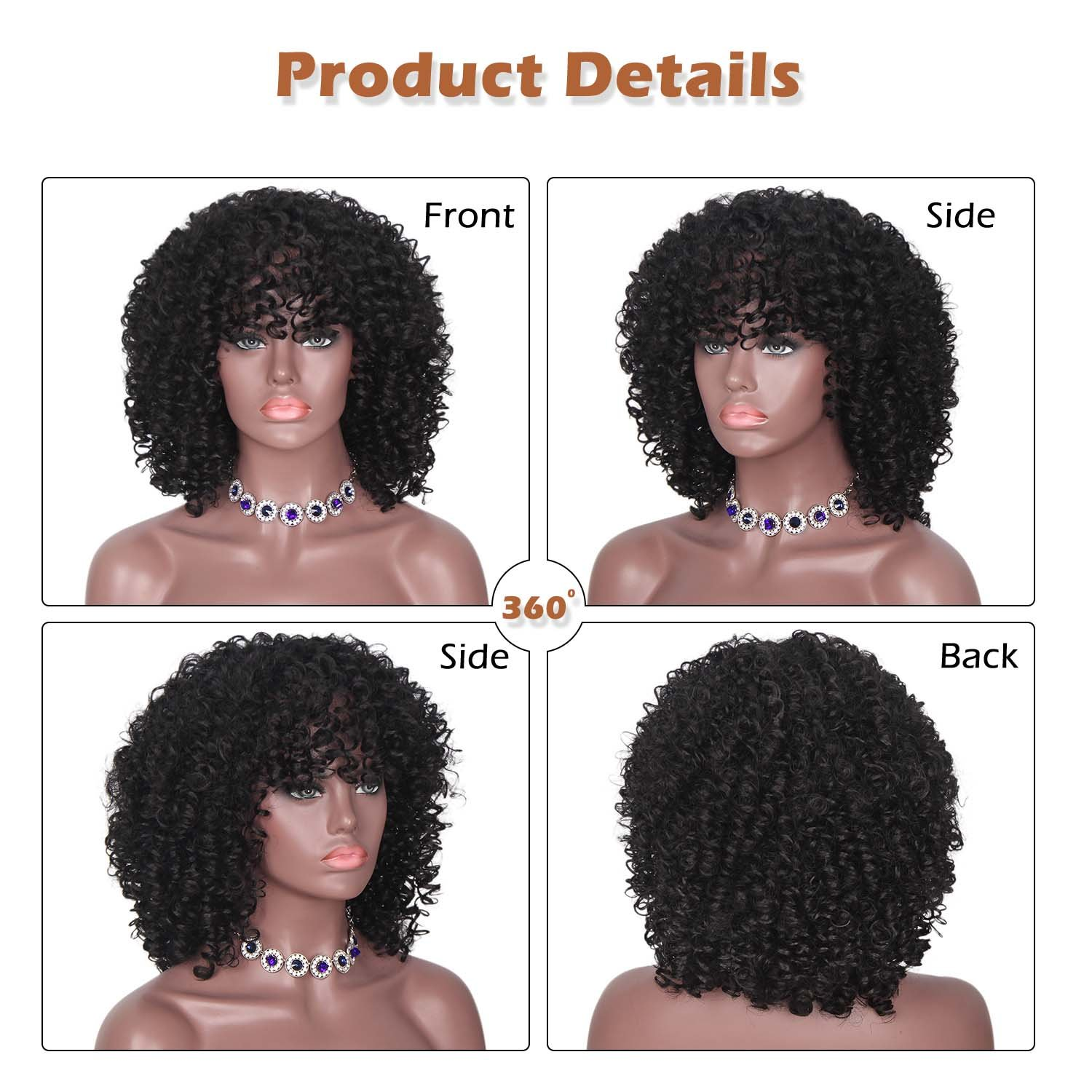 ForQueens Black Short Kinky Curly Wig Synthetic Afro Full Wigs For Black Women Heat Resistant Hair Curly Wigs With Bangs For African Women by ForQueens (Image #3)