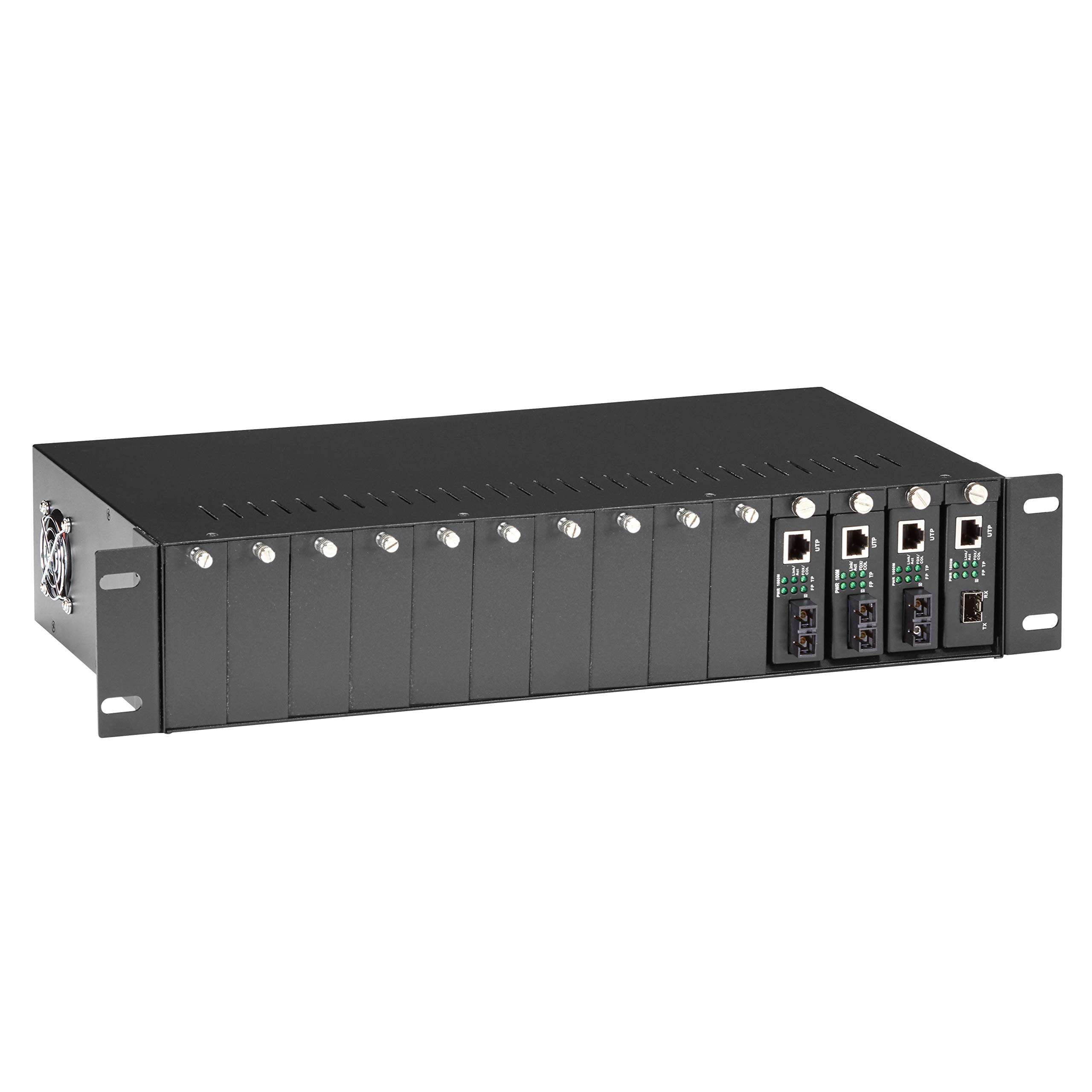 Black Box Copper to Fiber Media Converter Chassis - 2U 14-Slot by Black Box