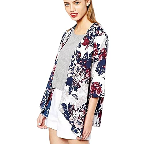 Tongshi Chaqueta Moda Mujeres Impreso Escudo gasa Kimono Cárdigan remata la blusa
