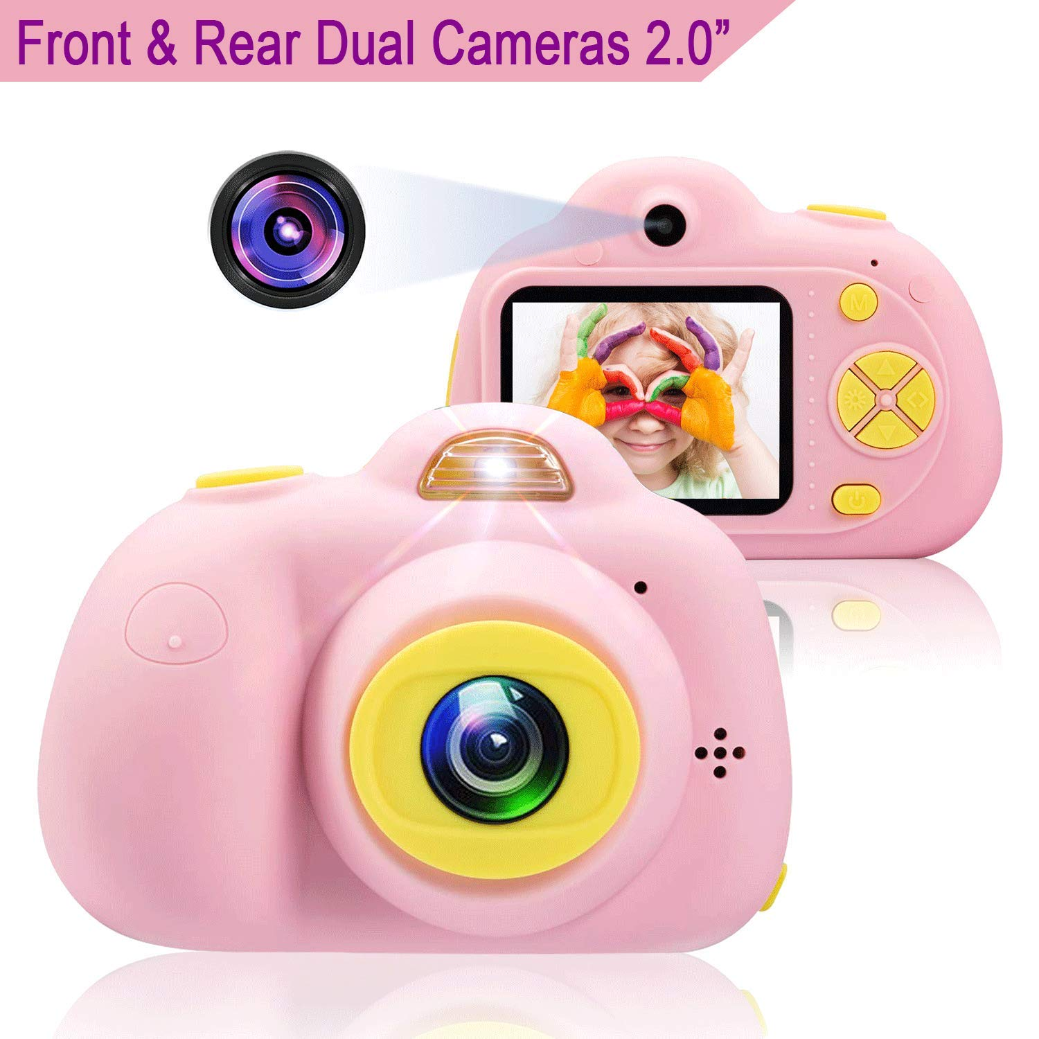 Anviker Kids Camera Gifts for 4-10 Year Old Girls, Shockproof Child Camcorder for Little Girls with Soft Silicone Shell for Outdoor Play, Pink (SD Card Not Includ) by Anviker (Image #1)